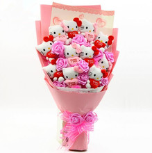 Popular Cute lovely Hello Kitty + Soap Roses Cartoon Bouquet  Gift Flowers For Valentine's Day / Birthday /Graduation Gift