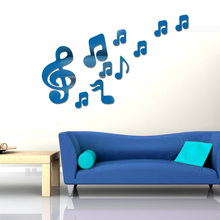 [Fundecor] diy 3D musical note mirror wall stickers children music room living room Kitchen home decor wall art decals murals