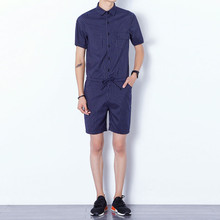 Fashion Mens romper set Cotton Jumpsuits Leisure Suspender Trousers Overalls Short Pants(China)