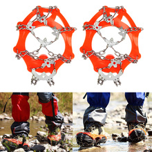 2 Pcs 8-Stud Red Anti-Slip Ice Gripper Sports Cleats Shoe Boot Grips Crampon Chain Spike Shoe Covers Snow For Hiking Climbing