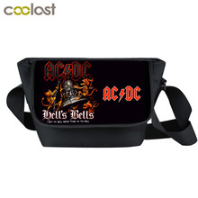 Rock Band ACDC Messenger Bag Young Men Women Street Punk Bag AC/DC Bags Skull Printing Crossbody Bags For Teenagers(China)