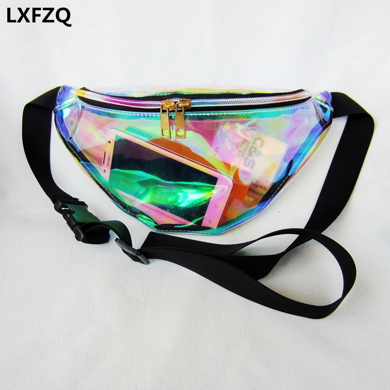 2017 new fanny pack women's handbags Laser purse translucent reflective chest waist bag women belt bag waist leg bag waist pack(China (Mainland))