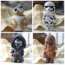4 pcs Star Wars 8cm BB8 Force Awaken BB-8 Robot Action Figure PVC Toys Darth Vader Storm Trooper Collection Figures Toy For Gift