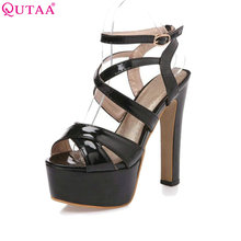 QUTAA High Heel Women Pump Sexy Patent Leather Ankle Strap Platform Sandal Ladies Party Shoes Size 34-43