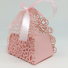 50 Pcs Wedding Candy Box Rose Candy Box Creative Gift Paper Boxes European Candy Cartons Wedding Decoration 7ZSH123(China)