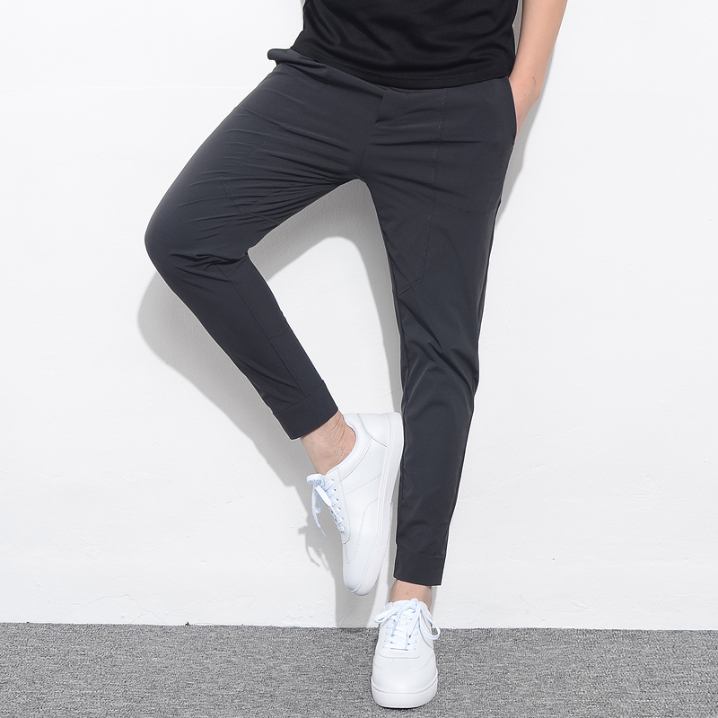 Casual Trousers Pant Ankle-Length-Pants Stretch Slim-Fit Mens Joggers Thin-Style Solid title=
