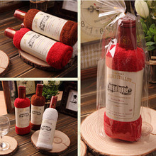 1Pcs 34cm*75cm Creative Red Wine Bottle Shape Towel Gift Opp Bags Single Wine Bottle 100% Cotton Towel Cake Gift(China)
