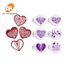 6Pcs/set Heart Shape Cookie Stencil for Wedding Cake, DIY Teapad Stencil Tools, Cupcake Stencil Decorating Tool, Bakeware ST-903(China)
