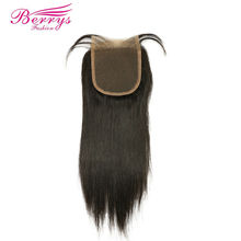 [Berrys Fashion] Lace Closure Straight Brazilian Virgin hair 4*4 Unprocessed Human Virgin Hair Free Part Closure With Baby Hair(China)