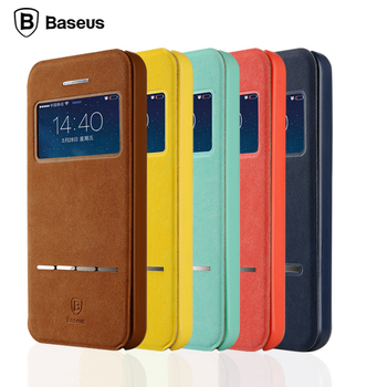 Baseus Smart Front Window View Flip PU Leather Case For iPhone 5 5s SE Magnetic Flip stand Cover Bag Coque Fundas For iPhone5