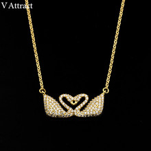 V Attract Tattoo Choker 2017 CZ  Swan Necklace Pendant Couple Heart Jewelry Collier Rose Gold Color Animal Charm