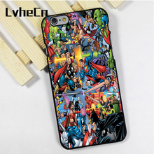LvheCn phone case for iPhone 4s 5s 5c SE 6 6s 7 8 plus X ipod touch 4 5 6 Marvel Vs Dc Comics Stickerbomb Battle Batman Superman(China)