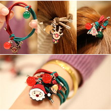 Buy Fashion Women Elastic Hair Bands Christmas Gift Scrunchy Pearl Headband Double Ring Girls Hair Accessories Rubber Gum Ornaments for $1.21 in AliExpress store