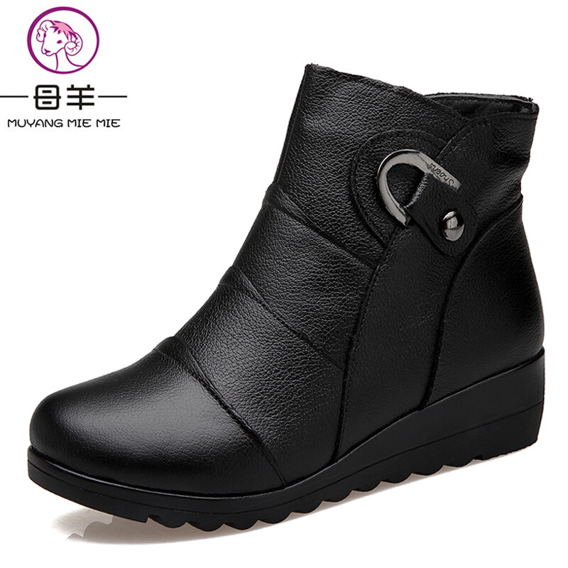 MUYANG MIE MIE Women Boots 2017 Fashion Shoes Woman Genuine Leather Wedges Ankle Boots Winter Casual Snow Boots Women Shoes<br>