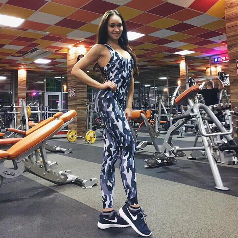 2017 Fashion Camouflage Sexy Sporting, European Women's New Backless Casual Jumpsuit, Bodysuit 1
