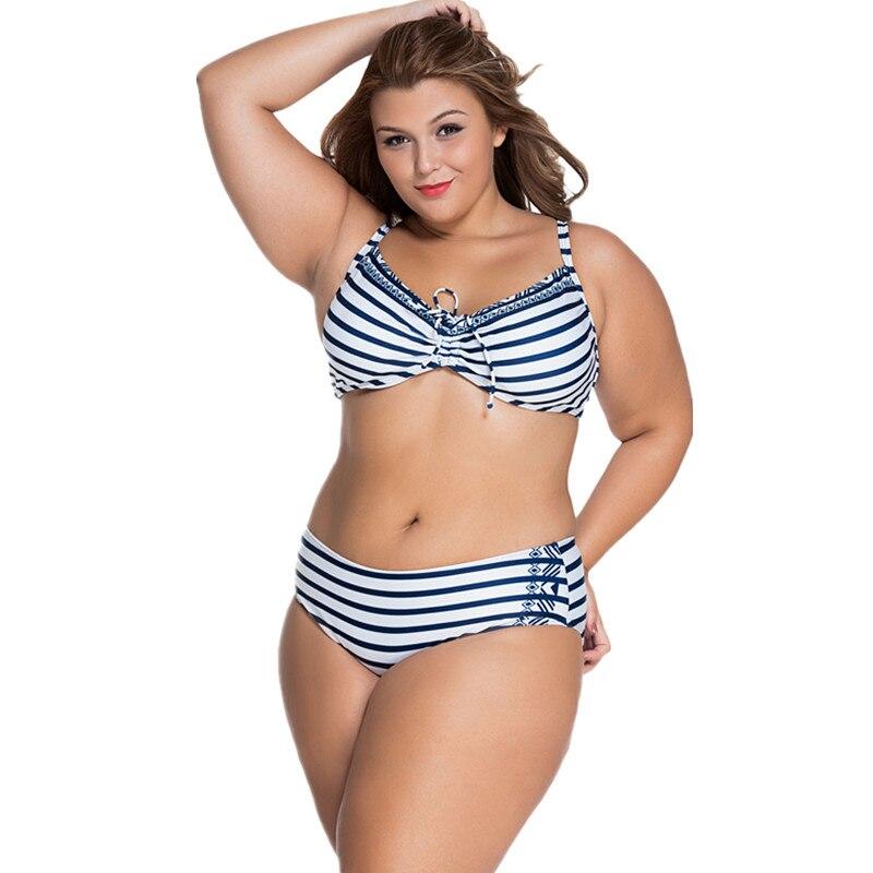 Cfanny 2016 New Women Swimwear Striped Underwire Swimsuit Plus Size 4XL Summer Neoprene Bikini with Strappy Sexy Bathing Suit<br><br>Aliexpress