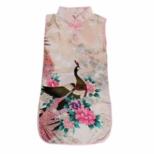 Classic Girls Dress Kid Baby Floral Cheongsam Dresses Peacock Chinese Qipao Clothes toddler girls summer dress