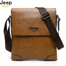 JEEP BULUO Brand Men Leather Bags Casual Business Tote Bag For Male Fashion High Quality Hobos Office Man's Shoulder Bag 1302