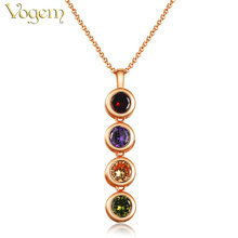 VOGEM Bohemia Rhinestone Long Necklace Pendant Colorful Crystal Round Charm Swearter Chain For Female Shopping Jewelry 2017
