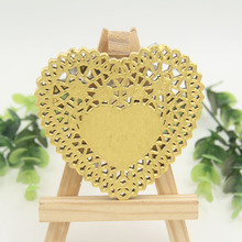 "4""/100mm Vintage Napkin Hollowed Gold Silver Heart Lace Paper Doilies Cake Holder Crafts Paper Doyleys For Wedding Decoration(China)"