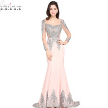 Vestido de Festa Sexy Sheer Back Sliver Beaded Lace Pink Mermaid Evening Dress 2017 Long Sleeve Evening Gown Robe de Soiree(China)