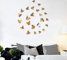 12Pcs Creative 3D Butterfly Wall Stickers Decal Hollow out Removable DIY Gold Silver Sticker Kids Art Nursery Xmas Decoration(China)
