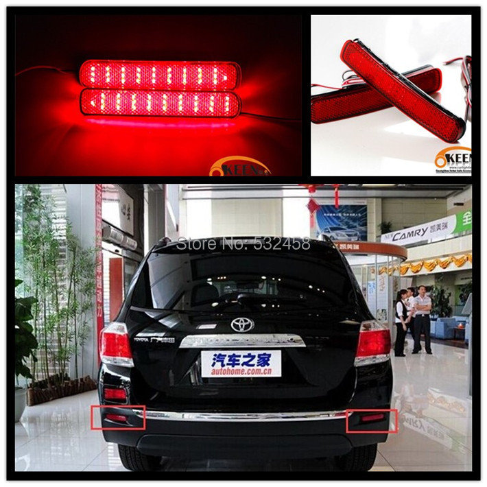 New Car styling 2 PCS Parking Warning 6W for Fog 2014 2012 2013  Highlander DC 12V Rear Bumper Reflector Light Red LED Fog Lamp<br><br>Aliexpress