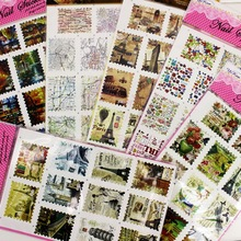 8 Sheets/lot Mix Vintage Oil Painting Postage Stamp Style Water Transfer Foils Stickers Nail Art Tips Manicure DIY Design Decals