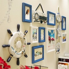 11pcs Sailor Anchor Sea Style Nordic Photo Picture Glasses Wood Frame Sets For Wall Pictures, Home Decorative Art Print Painting