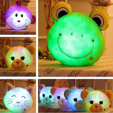 1pc Glowing Luminous Led Light up Animal Toys Teddy Bear Monkey Frog Cat Stuffed Plush Toy Doll Cushion Pillow Birthday Gift