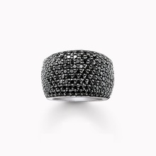 Cocktail TS Rings with Nine Rows Black Zirconia Pave, European Thomas Style Glam Fashion Jewelry Best Soul Gift for Women Men