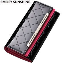 Luxury Patent Genuine Leather Wallet ans Purses Fashion Ladies Wallet Long Women Leather Wallets 2017 Female Clutch Purses Bags(China)