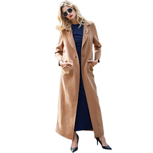 2016 S-XXXL Women Casual Camel Wool Long Coat Single Button Notched Lapel Twin Pockets Maxi Warm Plus Size Abrigo Mujer