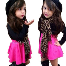 Girl's clothing set for spring /autumn children's clothing fashion set leopard print scarf+ pink skirt+black long sleeve shirts