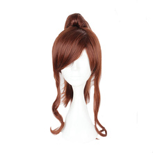 Mcoser 40CM Medium Curly Brown Color heat Resistant Synthetic One Ponytails hair 100% High Temperature Fiber WIG-057C(China)