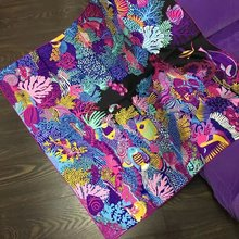90x90cm Sea World Print 100% Silk Twill Scarf, Women's Square Silk Scarves Shawl Wraps Fashion Clothing Accessory