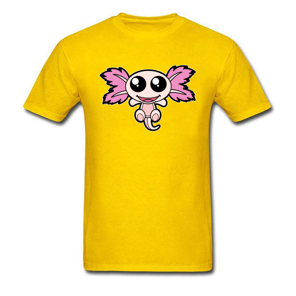 Pinky The Axolotl Casual Short Sleeve Tees Father Day Round Neck 100% Cotton Fabric Boy T Shirt Casual Tee-Shirt Funny Pinky The Axolotl yellow