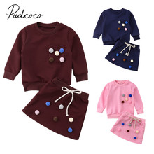 2018 Brand New Fashion Toddler Baby Girls Clothes Sets 2PCS Long Sleeve Solid With Balls Sweatshirts Tops +Mini Skirts Sets 1-6Y(China)