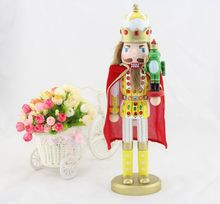 Nutcrackers soldiers Wooden crafts 38CM the frog prince Nutcracker doll beautiful with Rhinestone Christmas Favors(China)