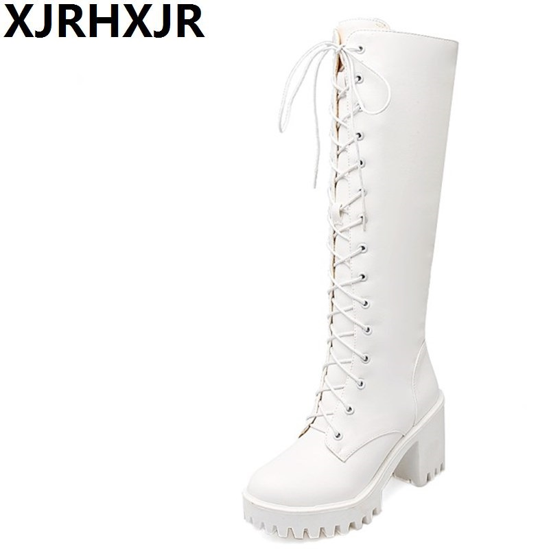 XJRHXJR Plus Size Platform Thick High Heel Knee High Fighting Boots Fashion Side Zipper Lace Up Round Platform Shoes Woman White<br>