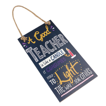 A Good Teacher Is Like A Candle Wall Hanging Wooden Teacher's Day Wordpad Message Board Hanging Sign Plaque for Home Party Decor