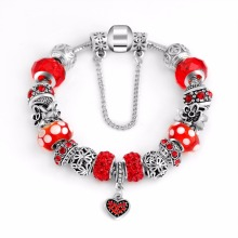 Women DIY Jewlry Red Rhinestone Beads Glass Bead Charms Heart lock Pendant Silver Flower Charm Spacer Fit P Bracelet