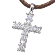 Cross Necklace Women/Men Jewelry Factory Direct Trendy Silver Plated Micro Pave CZ Cross Pendant Necklace Women