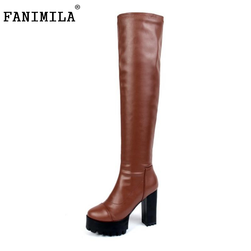 Women Sexy Thick Heel Over Knee Boots Sexy Round Toe Platform High Heels Shoes Footwear Fashion Heeled Botine Mujer Size 34-40<br>