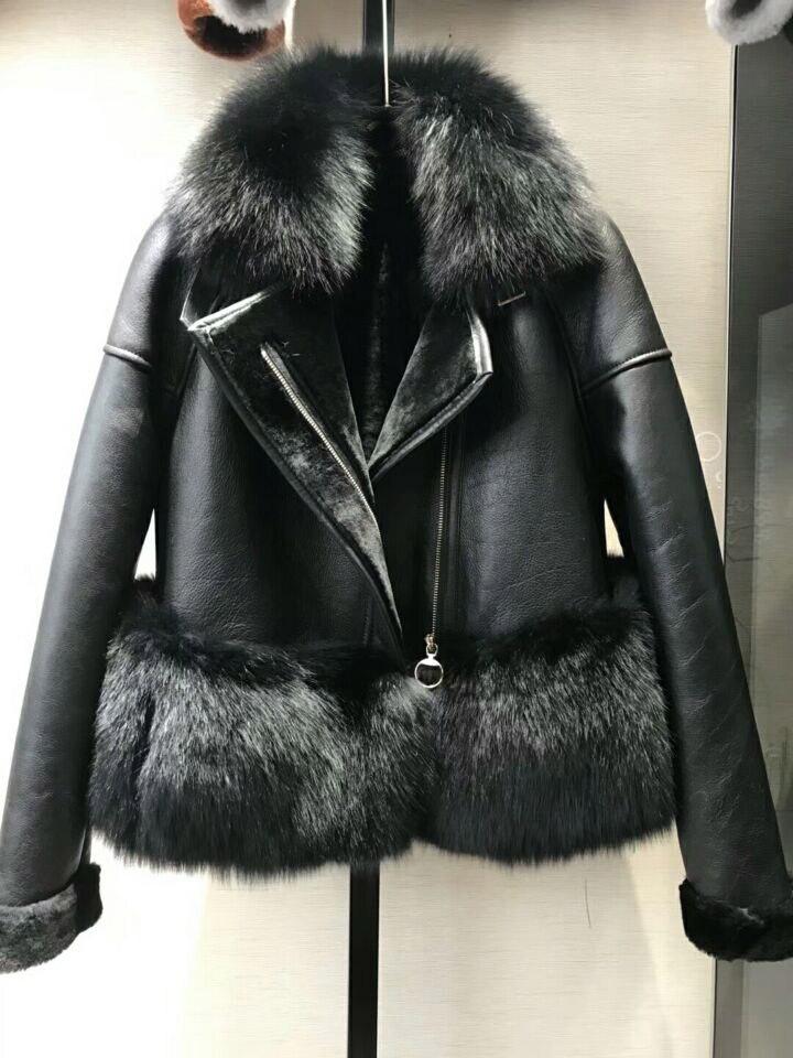 genuine sheep leatherskin jacket fox fur cooar coats (31)