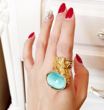 Newest Big Statement Arty Knuckle Armour Chunky Finger Opal Oval Gem Stone Golden Cocktail Ring Bague Arty Rings(China)