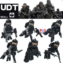 6pcs WW2 Anti U. S. NAVY SEALs Guard Husky Military SWAT policeman Army Soldier weapon building blocks  bricks toys