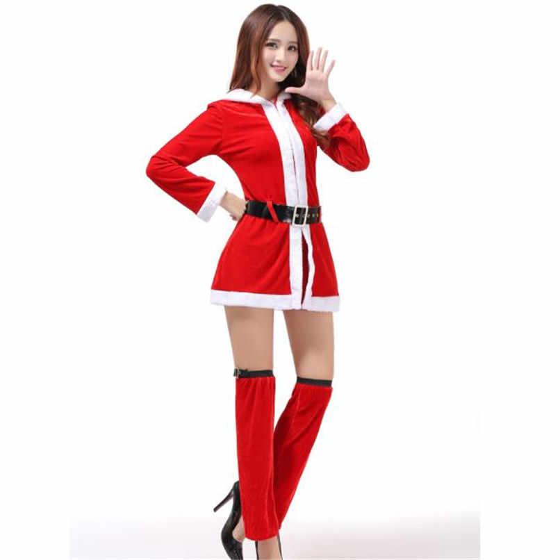 Sexy Santa Christmas Mini Dress Female 2018 Autumn Dress Ladies Women Mrs  Christmas Fashion Elegant Dress 41ccf1f84e29