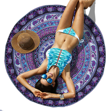 Bohemian Round Beach Towels Indian Elephant Pool Home Shower Towel Blanket Table Cloth Mat Dorp Shipping(China)