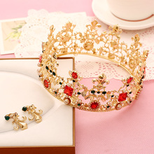 Factory direct explosion models suit crown jewel in Europe and America earrings alloy plate made pearl bridal headband hair acce